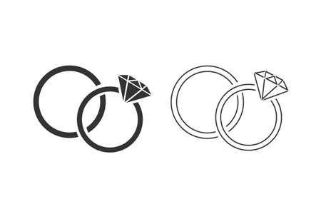 Rings line icon set on white illustration Illusztráció