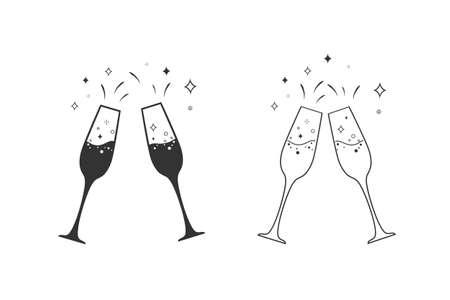 Champagne glass line icon set.
