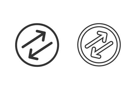 Diagonal Flipping Arrows rubber seal stamp watermark. Line Icon set symbol. Sticker on a white background