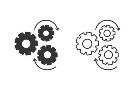Gear line icon set, flat design icon