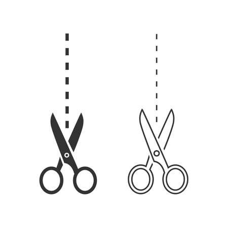 Scissors line icon set template illustration Illusztráció