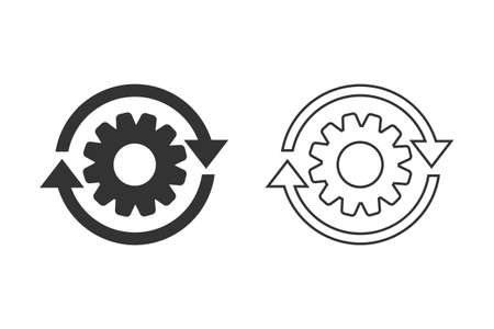 Workflow process line icon set in flat style. Gear cog wheel with arrows illustration on white isolated background. Workflow business concept. Illusztráció