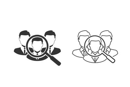 Find the right person for the job concept with business, businessman line icon set. Illusztráció