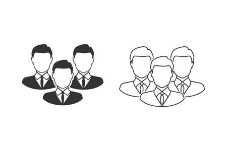 Corporate Team Line Icon. Employees behind the leader. Illusztráció