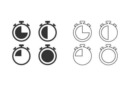 Stopwatches line icons set illustration Illusztráció
