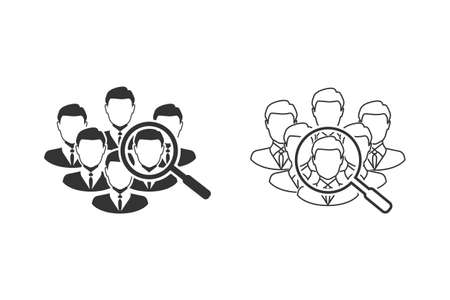 Find the right person for the job concept with business, businessman line icon set illustration