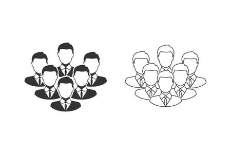 Corporate Team Line Icon Set. Employees behind the leader illustration