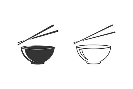 Bowl and chopsticks line icon flat style. Vector