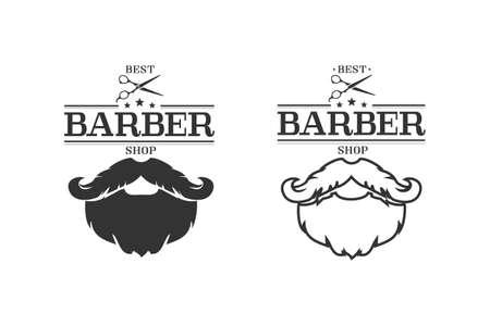 Barber shop isolated vintage label badge emblem line icon set. Vector illustration
