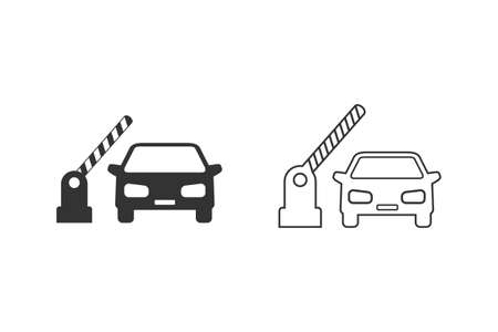 Open barrier, car vector line icon set on white
