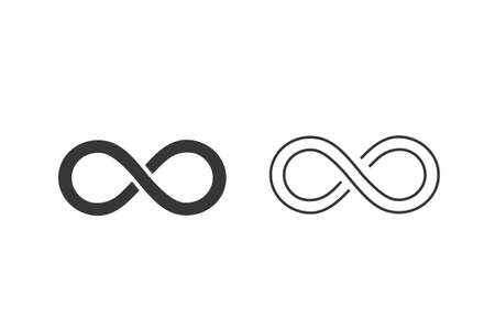 Infinity Line Icon Set. Vector illustration. Modern flat style