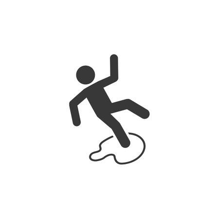 Slippery floor danger pictogram illustration isolated on white background