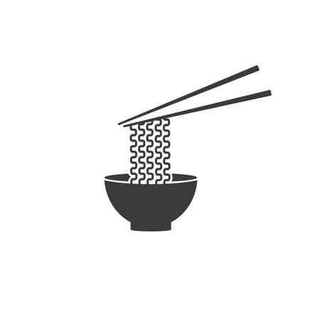 Ramen noodle soup bowl with chopsticks vector icon for food apps and websites Ilustração