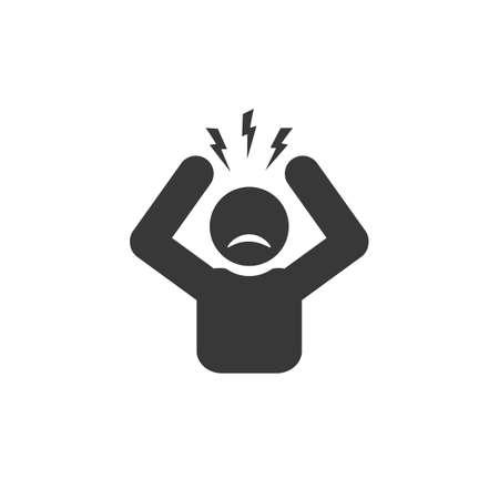 Headache glyph icon. Silhouette symbol. Anger and irritation. Ilustração