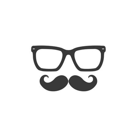 Mustache and Glasses sign icon. Black vector icon