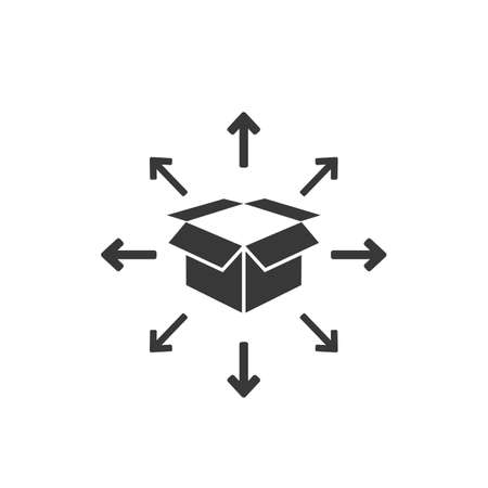 Box delivery icon in flat. Vector symbol illustration