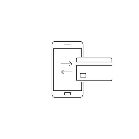 Mobile transfer money line icon in flat. Vector