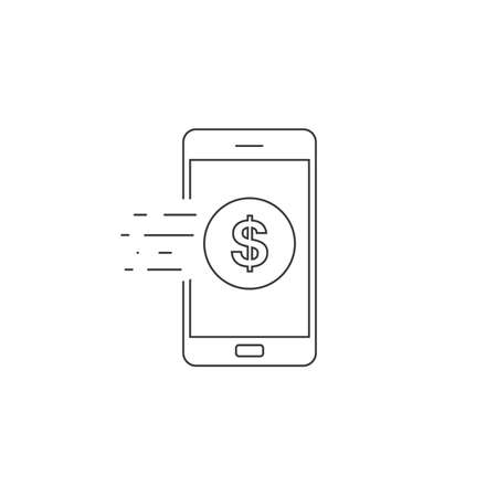 Mobile banking line icon in trendy flat style design. Vector graphic illustration.