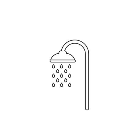 Shower line icon vector, filled flat sign, solid pictogram isolated on white. Symbol, logo illustration