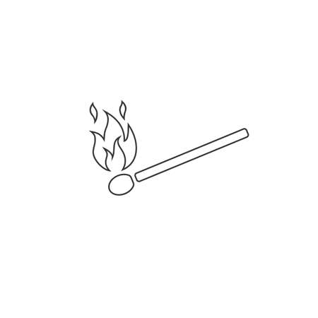 Match sign. Fire symbol line icon. Flame concept. Stock vector illustration