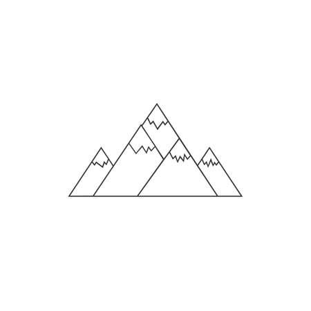 Mountain vector line icon in flat style Ilustração