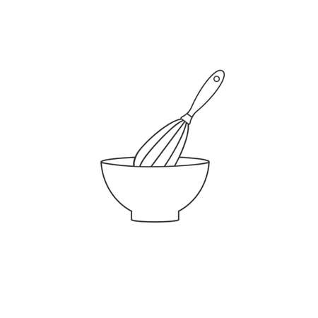 Mixing Bowl vector line icon in flat