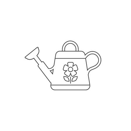 Watering can line icon, isolated, white vector
