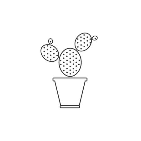 Cactus line icon simple gardening illustration plant vector sign