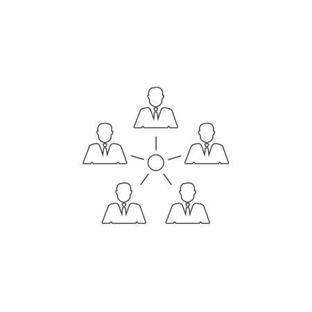 Management line icon. Teamwork management icon vector