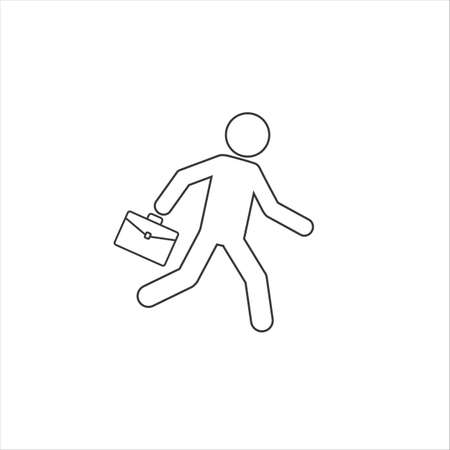 Business line icon vector illustration of a businessman running with briefcase, business, energetic, dynamic concept
