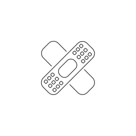Patch medicine line icon in flat. Vector