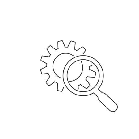 Magnifying glass sign line icon or logo. Search Gear Tool concept. looking over the gear to see the detail, vector illustration Ilustração