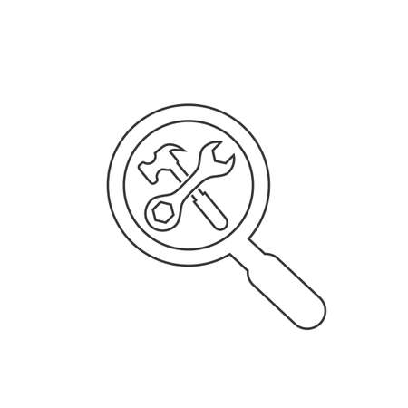 Search repair and maintenance car service station, line icon vector. Crossed tools symbol with magnifying glass. Vector isolated illustration Ilustração