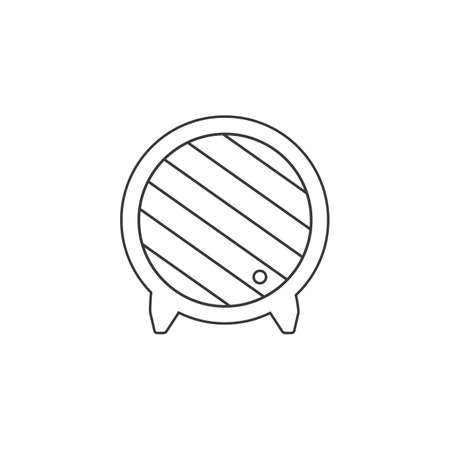 Wooden barrel line icon. Wine barrel icon. Barrel flat vector. Wine barrel sign Ilustração