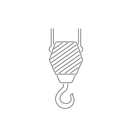 Black Industrial hook line icon isolated on white background. Crane hook icon. Vector Ilustração