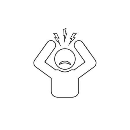Headache glyph line icon. Silhouette symbol. Anger and irritation. Frustration. Nervous tension. Aggression. Ilustração