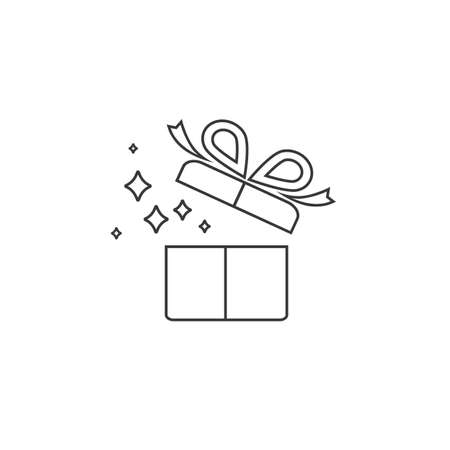 Gift box with ribbon line icon, Gift card icon vector Ilustração