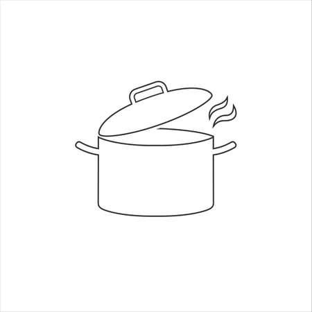 Cooking pot or stockpot stock pot flat vector line icon cooking Ilustração