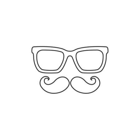 Mustache and Glasses sign line icon. Black vector icon flat Ilustração
