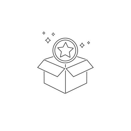 Loyalty program line icon. Bonus points. Discount box symbol. Loyalty program icon.