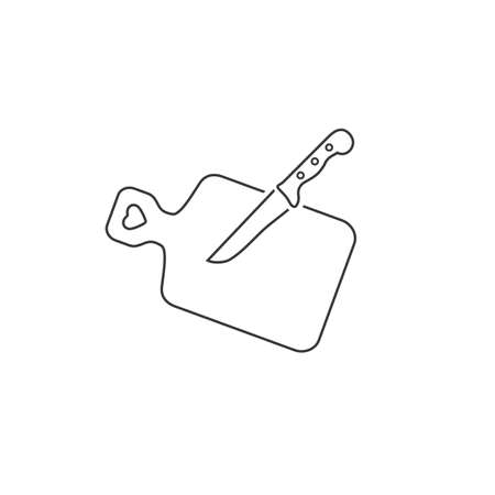 The cutting board and knife line icon. Chef and restaurant, kitchen symbol. Flat Vector
