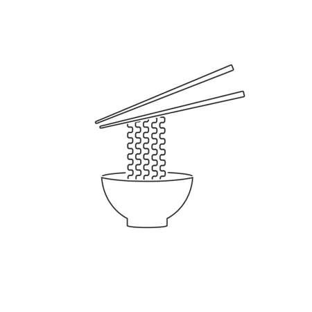 Ramen noodle soup bowl with chopsticks flat vector line icon for food apps websites Ilustração