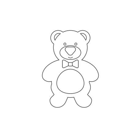 Cute teddy bear line icon. Vector illustration