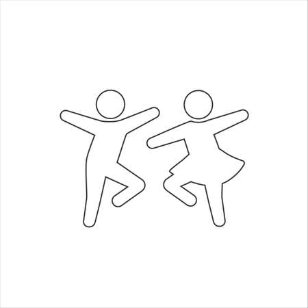Dancing man and woman line icon. Dancing couple of people. Happy people. Vector Ilustração