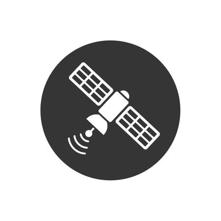 Satellite white icon in flat style. Vector illustration