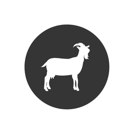 Farm Animals Goat White Icon Vector Illustration