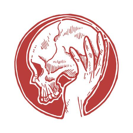 Hand Holding Skull Stock Vector - 27136010