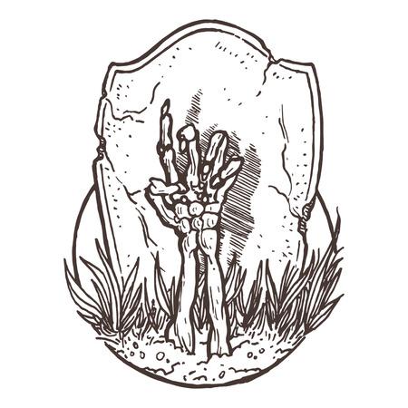 Skelett-Hand Rising from the Ground Standard-Bild - 27136011