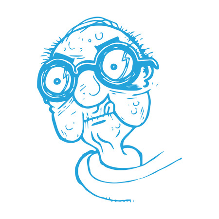 Old Man with Thick Glasses Illustration