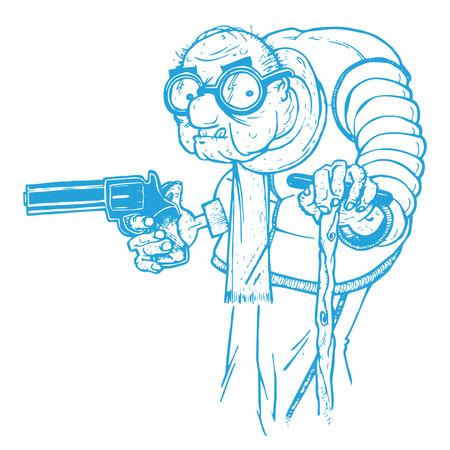 Oude man met een pistool Stock Illustratie